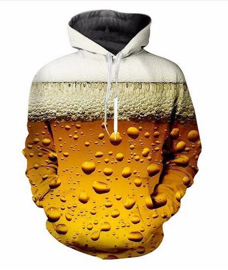 Nouveau Mode Hoodies Frais Bière fraîche 3D Imprimer Hommes Femmes Sport Sweat Designer À Capuche Pull À Manches Longues Streetwear LMS019