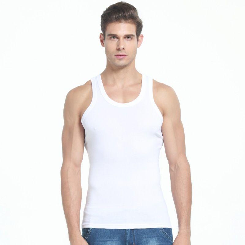 % 100 Slim Fit Erkekler İç Giyim Giyim Vücut fanilalar Fitness fanila Pamuk Erkek Yelek Underwears Kaldırma Tees Tops