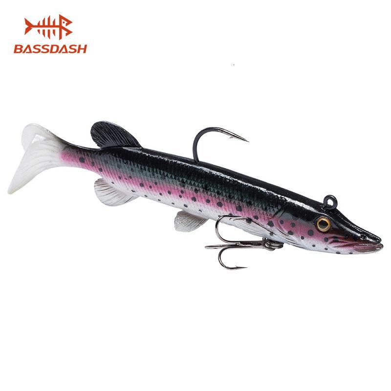 Bassdash Правда Pike Soft Swimbait Saltwater Bass Fishing Lure, встроенная Lead Вес 10.5cm 14г T191016
