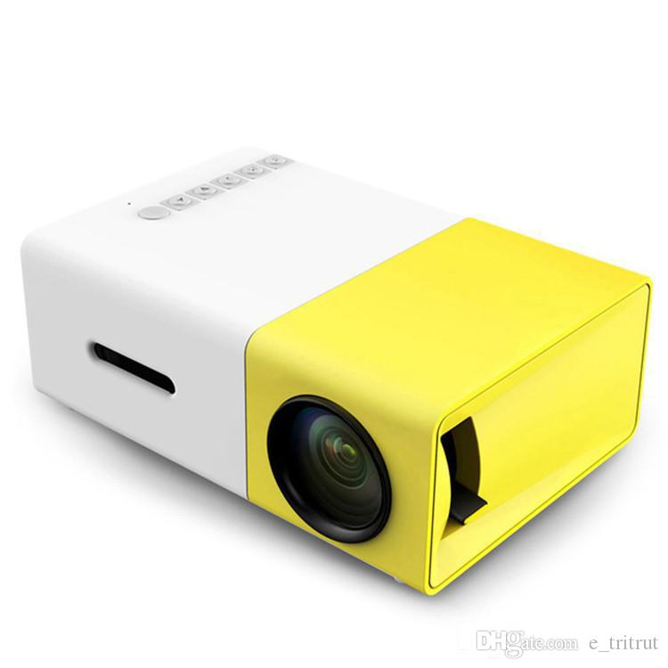 YG300 Portable Projektor YG 300 LED 400-600LM 3,5 mm Audio 320 x 240 Pixel YG-300 USB Mini-Projektoren Home Media Player 20Pcs
