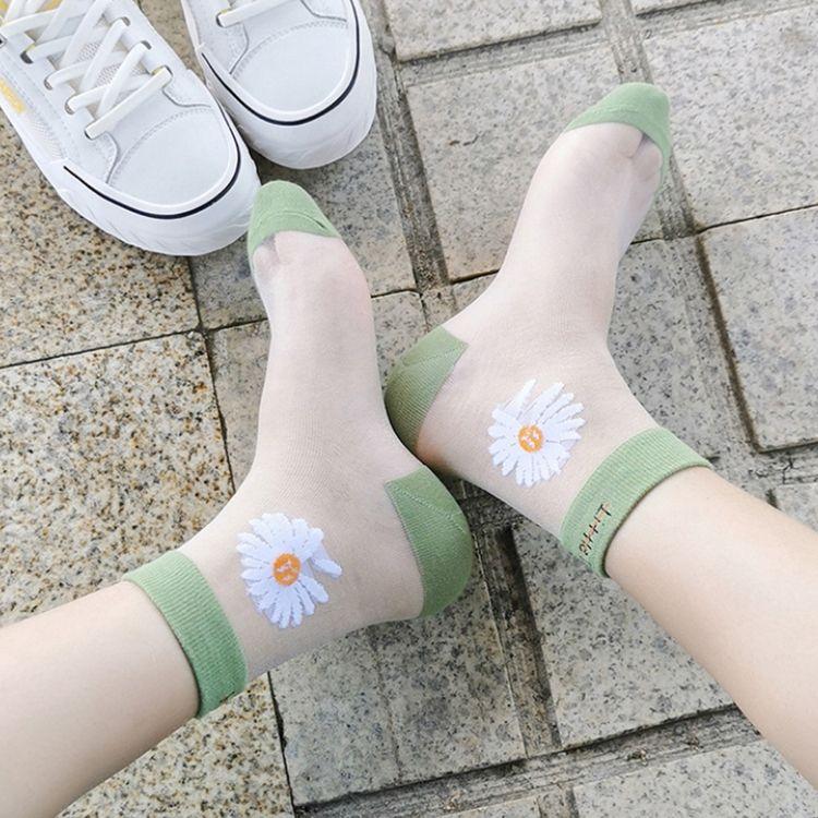 5 color de la margarita de cristal bordado de seda del calcetín Mujeres Ins tendencia dulce de encaje de tul transparente ultrafino fresco del verano de malla calcetines Sheer KJJ338