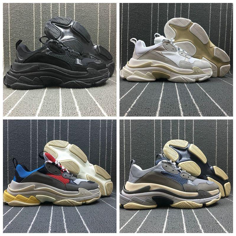 2019 balenciaga triple s جديد مصمم أحذية باريس تريبل- S منصة منخفضة أحذية رياضية ثلاثية S رجالي عارضة المرأة مصمم عارضة الرياضة المدربين Eur36-45