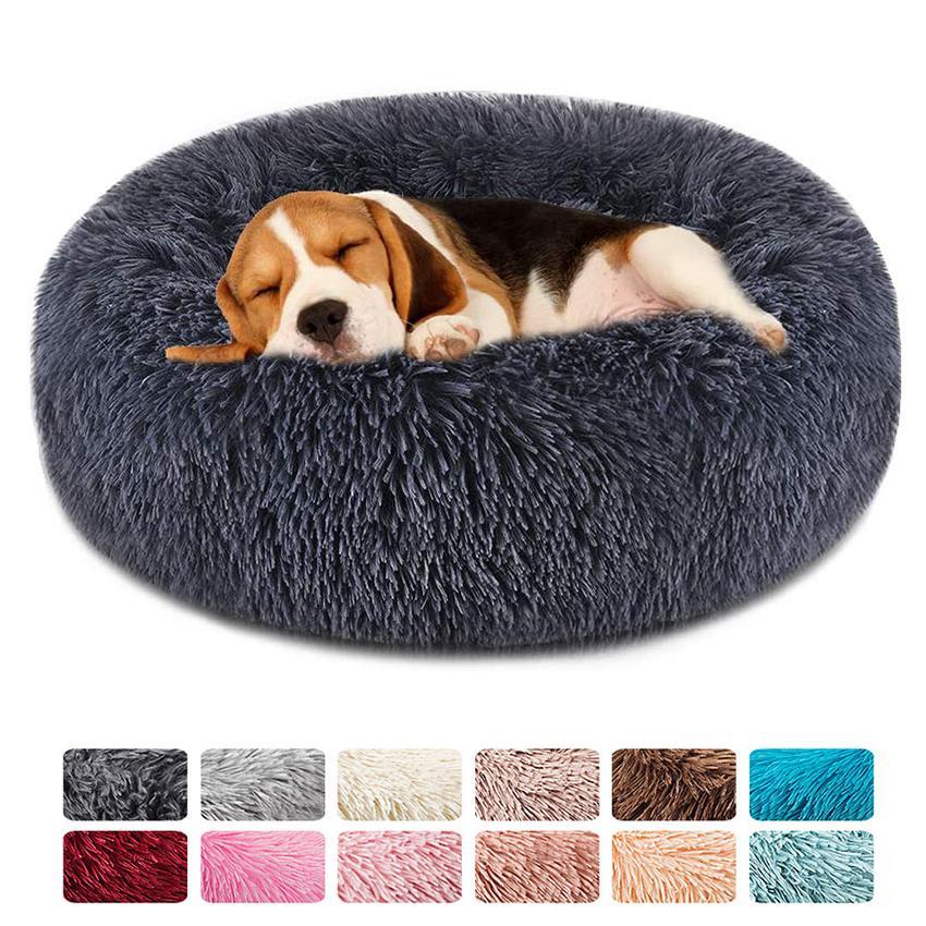 Weich rund Waschbar Langer Plüsch Hundehütte Haus-Katze Velvet Mats Sofa für Samll großen Hunde Korb Haustier-Bett-T200618
