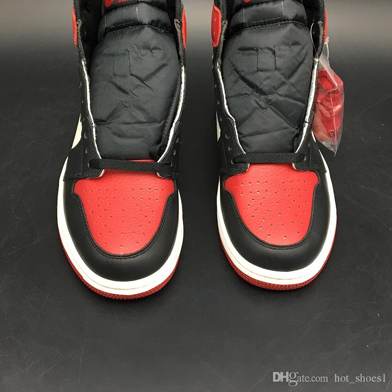 Air 1 High OG Bred Toe 555088-610 1s I Schwarz Weiß Rot Kicks Frauen Männer Basketball-Sport-Schuhe Turnschuh-Trainer mit ursprünglichem Kasten