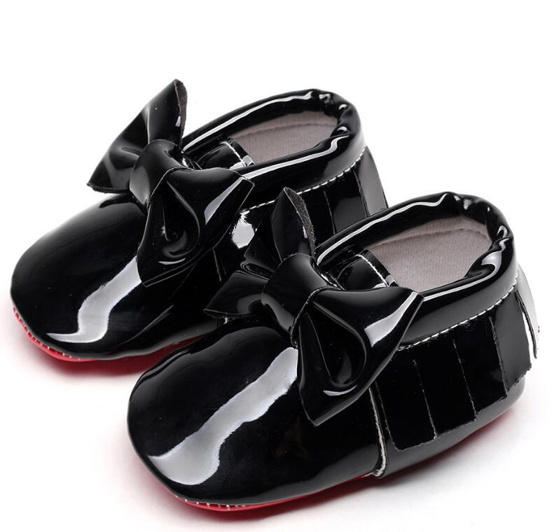 0-6 6-12 12-18M için kırmızı alt Patent PU Deri püskül bebek makosenler Büyük ilmek İlk Yürüyenler bebek bebek kız erkek ayakkabıları