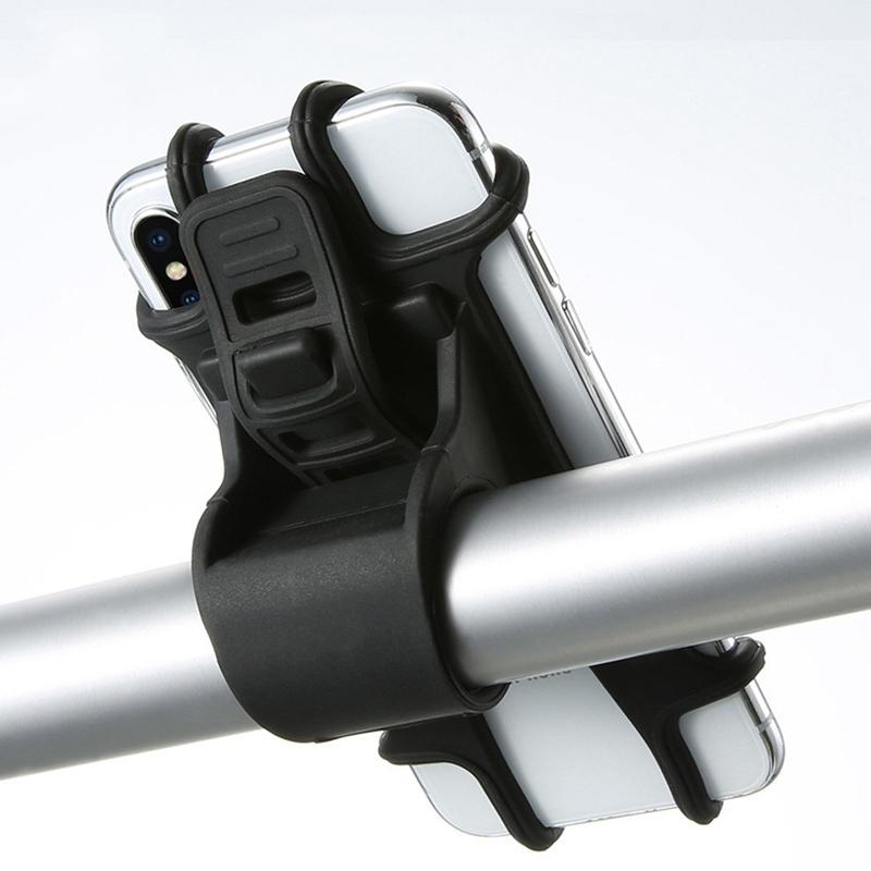 Titular scooter de teléfono de silicona de tracción ajustable Soporte para botones anti-choque soporte de montaje en Tenedor Para bicicletas soporte para teléfono Teléfono