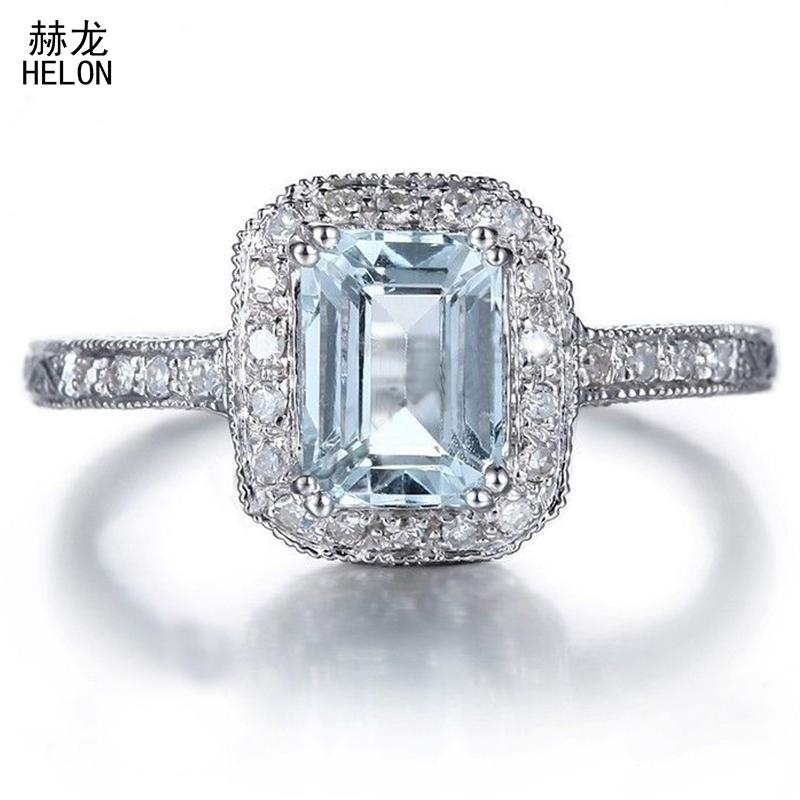 Solid 10k White Gold Flawless Emerald Cut 7x5mm 1.23ct Aquamarine Engagement 0.2ct Diamonds Wedding Ring Vintage Unique Jewelry S625