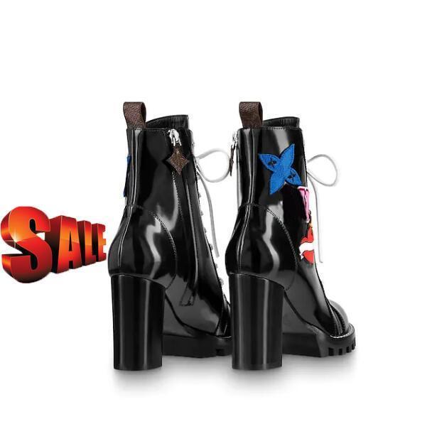 Caliente famosos zapatos de marca de las mujeres botas de cuero de la estrella popular sendero talón grueso cordón de goma Negro ocultar boxs 1a2y7w lujo suela bootswith