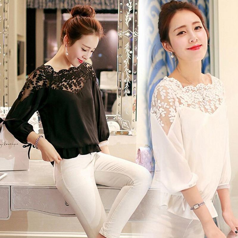 Verano de gran tamaño 2XL Femenina blusa de la versión libre de costura de encaje Blusa Femenina casual camisa de la gasa de la blusa de manga ancha de encaje