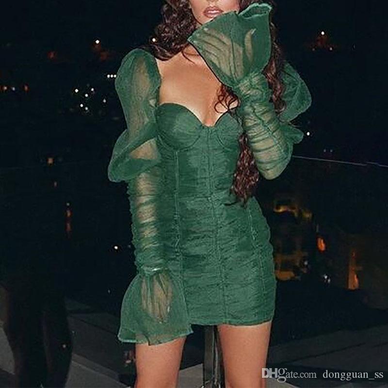 Stokta Yeşil Retro Mini Elbise Seksi Mesh Pileli BODYCON Elbise Bayanlar Flare Kol Parti Elbise vestidos içinde