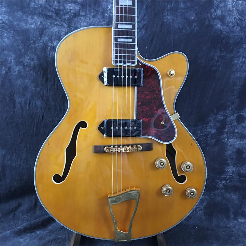 il jazz di alta qualità chitarra elettrica, giallo, corpo cavo, hardware dorato, alta chitarra calda qualità, trasporto libero