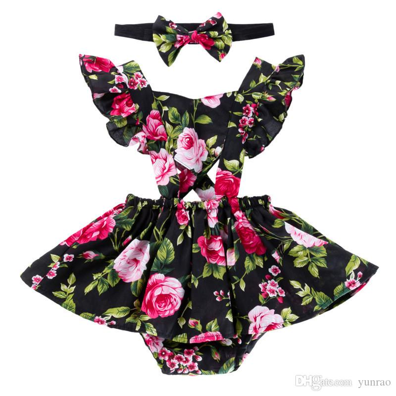 Newborn baby girl clothes girls dresses with headband kids designer clothes girls Floral romper for enfant ruffles sleeve Valentines Day