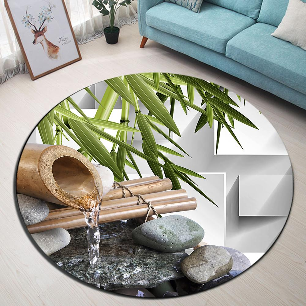 LB Bamboo Pipe And Spa Stones Living Room Floor Doormat Bathroom Non-slip Mat Carpets For Kids' Bedroom Kitchen Round Area Rugs