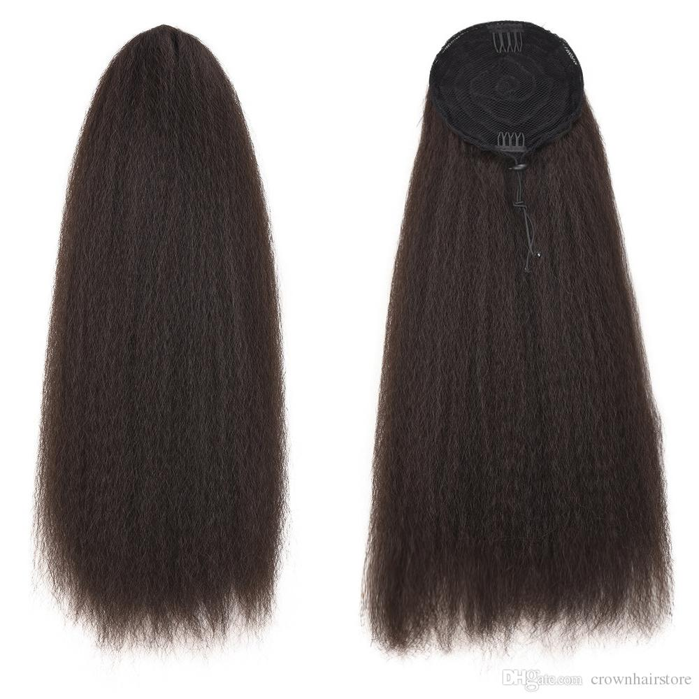 22'Yaki Straight Ponytail Drawstring Extensions Hair Pieces Kinky Straight Long Black Ponytail for Women Clip in on Ponytail Hair Extensions