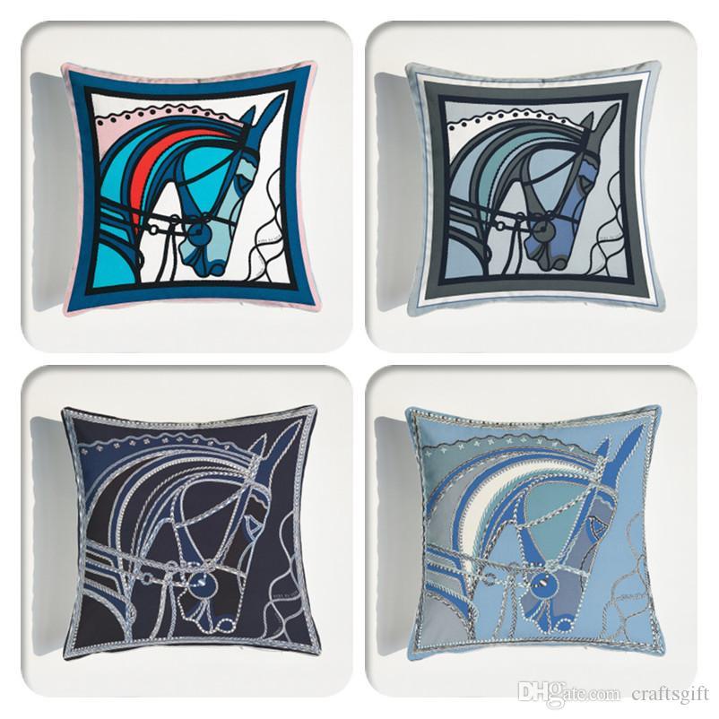 Cabezas de caballo almohada y decoración de la funda de almohada del amortiguador suave terciopelo Cojines de Home Sofá Oficina 45 * 45 cm de recorrido cubierta de almohadas