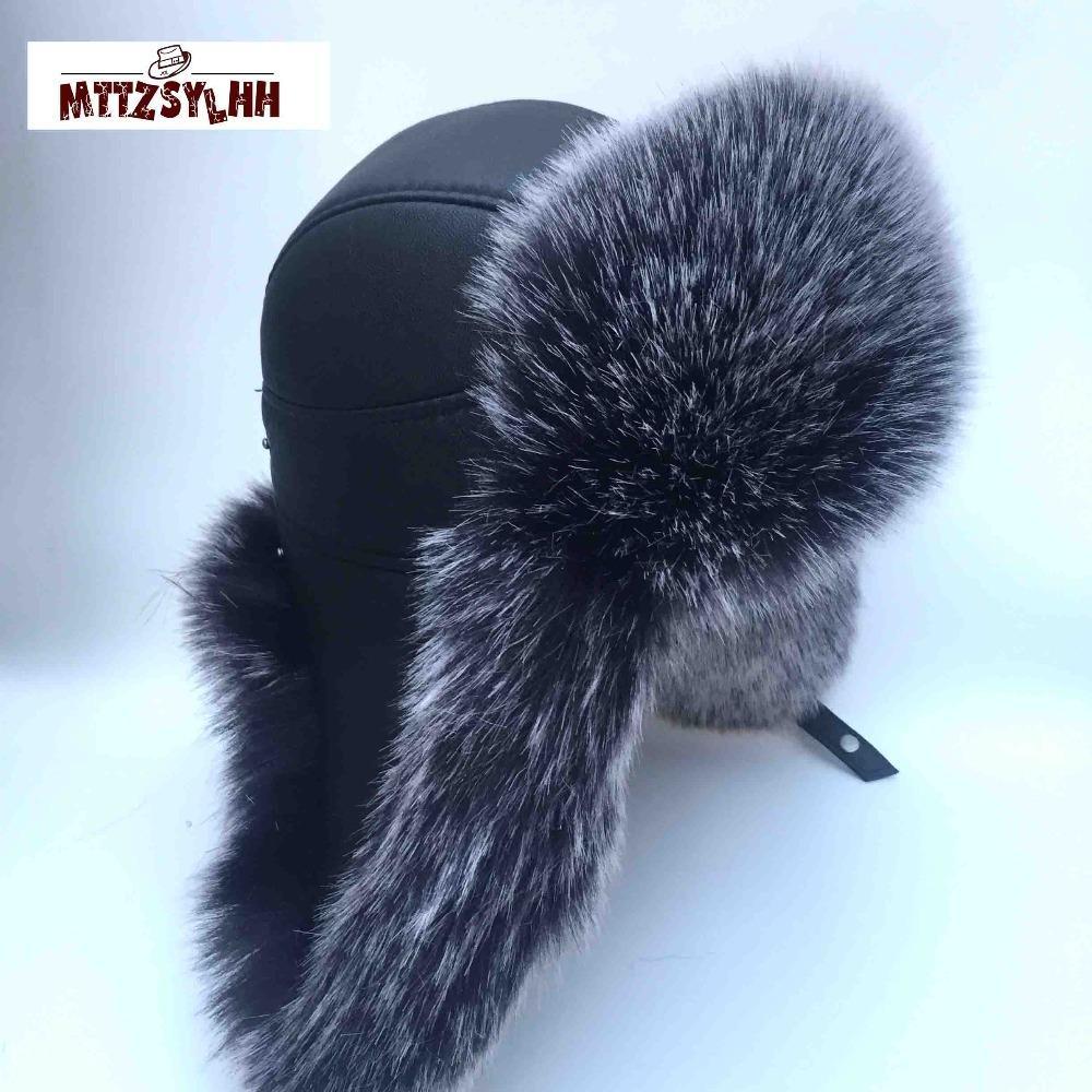MTTZSYLHH Pilot Hat hommes en fourrure de renard d'hiver Chapeau russe Oreilles UPScale chaud Bombshell cuir artificiel Livraison gratuite Y200110