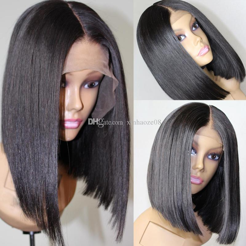 Cheveux Raides Brésiliens Court Bob Cut Perruques Réglable Pré Plumé 4x4 top dentelle Fermeture Bob Cut Humanhair Perruques Pour Les Femmes Noires En Gros