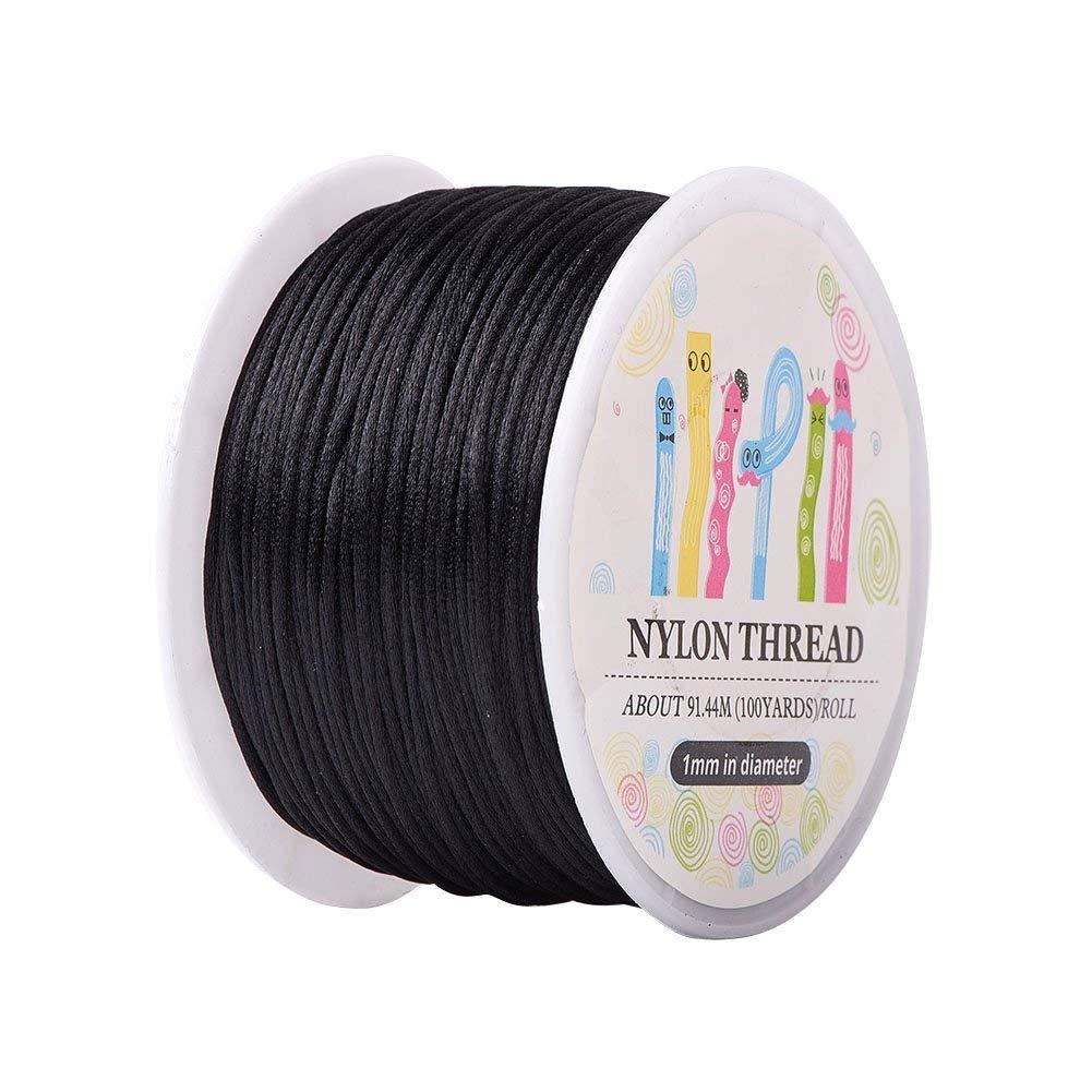 10 Rouleau 1mm x 100yards Noir Rattail Nylon Garniture Cordon Noeud Chinois Kumihimo String Bijoux Trouver