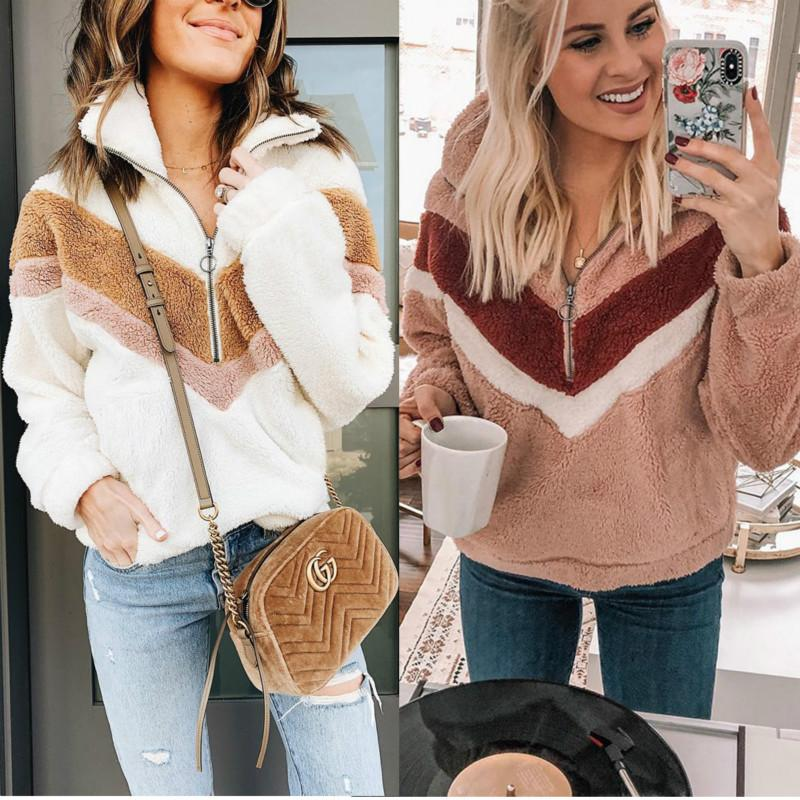 Mulheres velo camisola Oversized Hoodies Inverno Causal Faux Fur Zipper Patchwork pulôver Fluffy Quente manga comprida Plush Top
