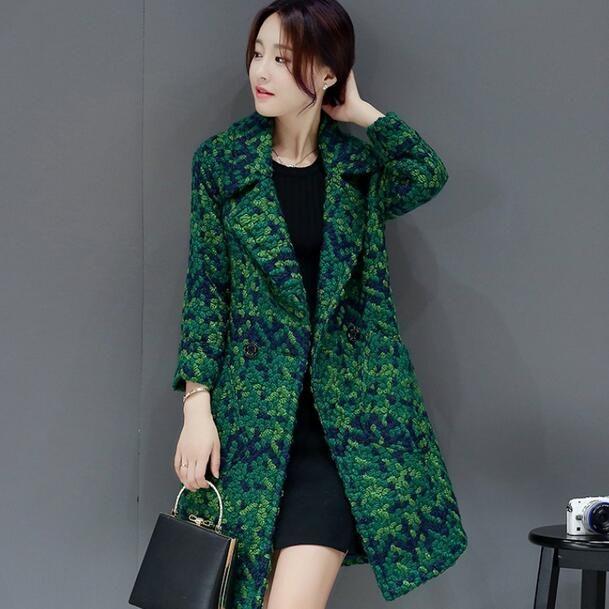 고품질 양모 코트 여성 슬림 중간 긴 트위드 자켓 여성 Outwear 녹색 코트 브랜드 여성 자켓 DC463