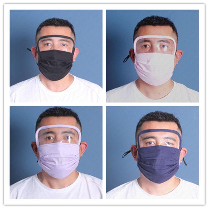 Vente en gros avec filtre PM2.5 Masques 2en1 en plastique transparent couverture yeux écran facial femmes hommes masques réutilisables respirant vélo Visage Couverture de D6809