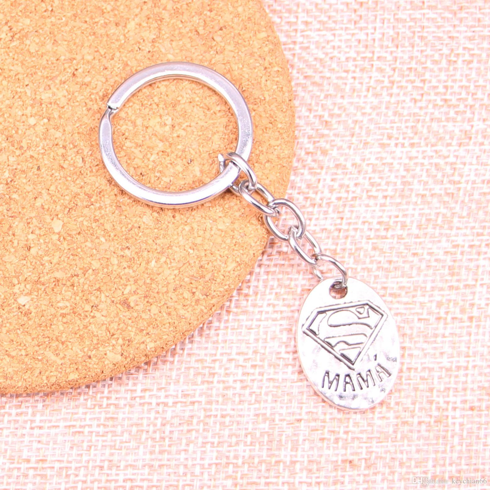 New Fashion 25*18mm superman mama KeyChain, New Fashion Handmade Metal Keychain Party Gift