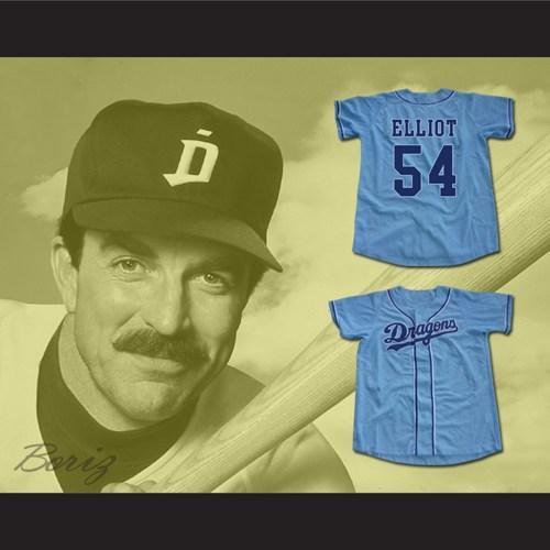 Benutzerdefinierte Jack Elliot # 54 Mr. Baseball Movie Jersey Chunichi Dragons Weiß Blau Jeder Name und Nummerngröße S-4XL