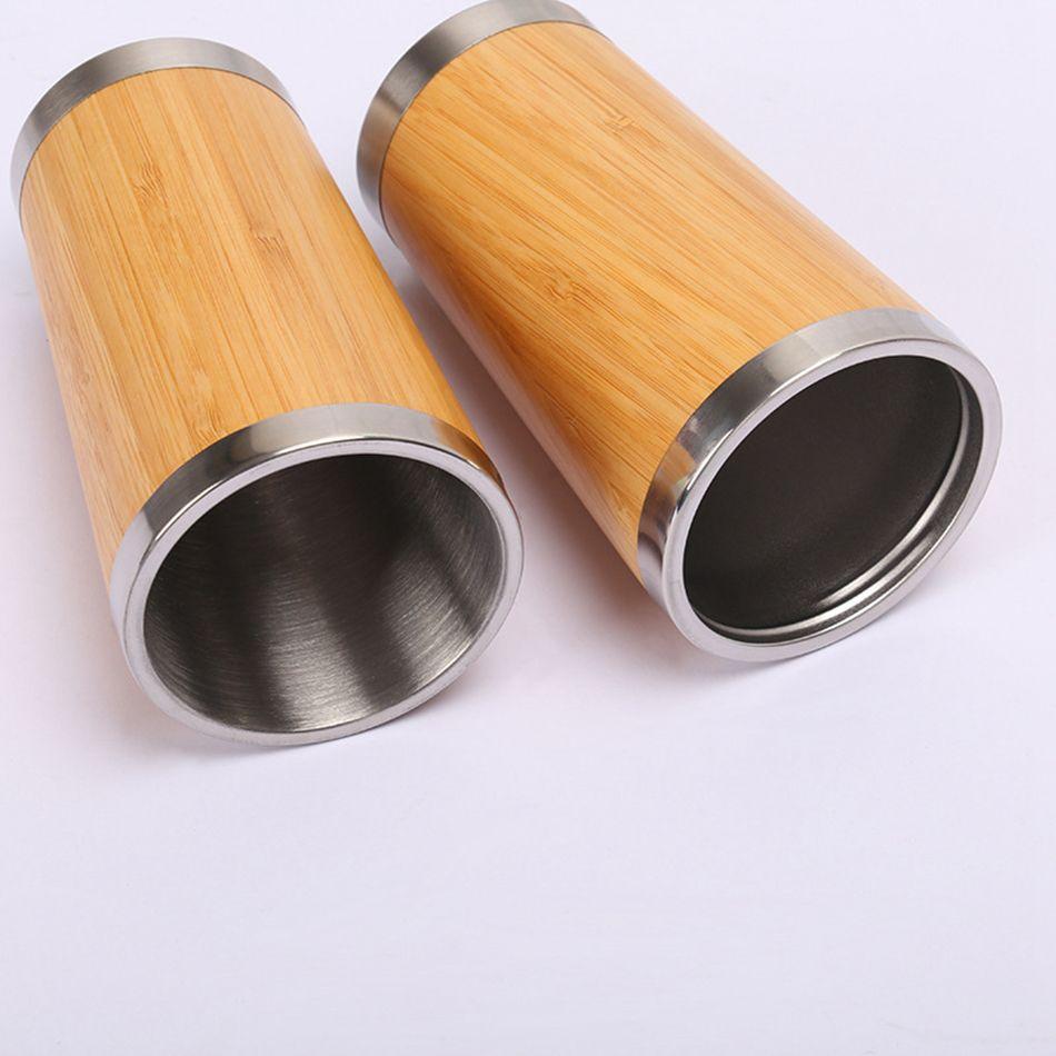 Botella de 450 ml de bambú vaso de agua de acero inoxidable interior de doble pared con aislamiento al vacío taza del viaje del coche de la taza de café LJJA3361-4