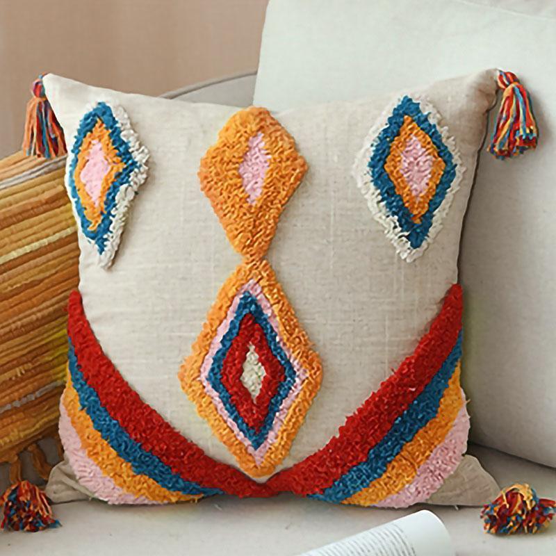 غطاء وسادة الشرابة بوهو نمط العرقية غطاء وسادة اليدوية الفاخرة المغربي نمط 45X45CM سادة القضية