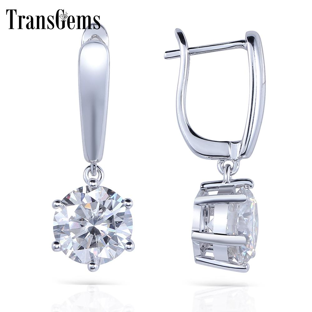 Transgems Solid 14k 585 White Gold 1ctw 5mm 0.5carat Each F Color Hearts And Arrows Moissanite Hoop Earrings For Women Jewelry C19032501