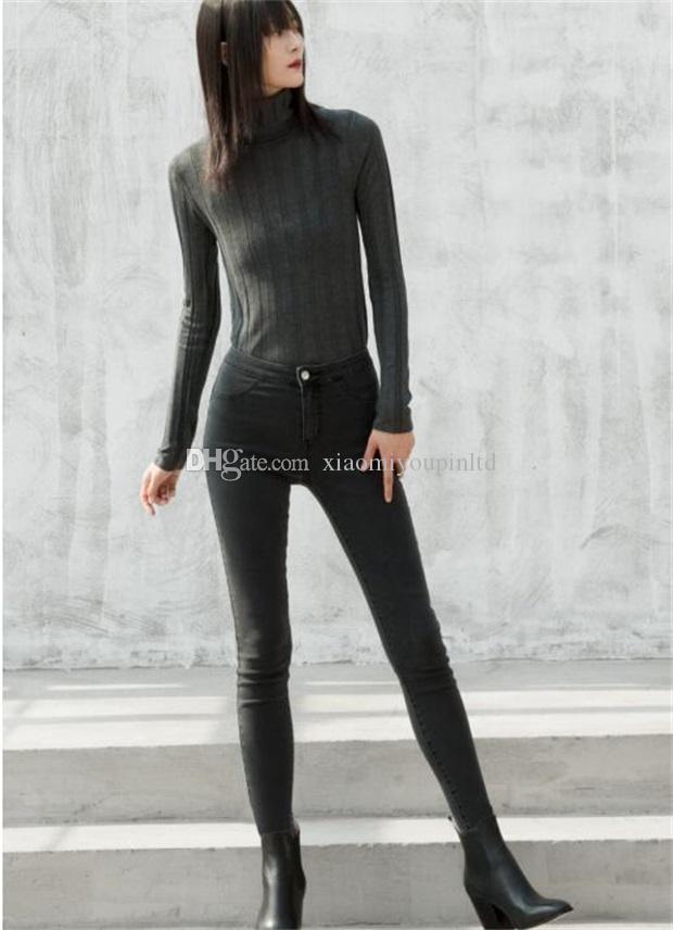 Xiaomi youpin COTTONSMITH jeans élastiques creux de la vague des femmes haute élastique cow-boy de la mode sauvage jeans taille haute confortable 2color 3012925