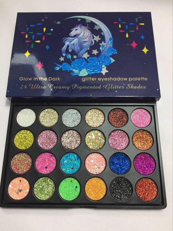 Makeup Glow in the dark Horse glitter eyeshadow palette 24 Colors Ultra Pigmented Glitter 24 shades eyeshadow palette epacket free ship