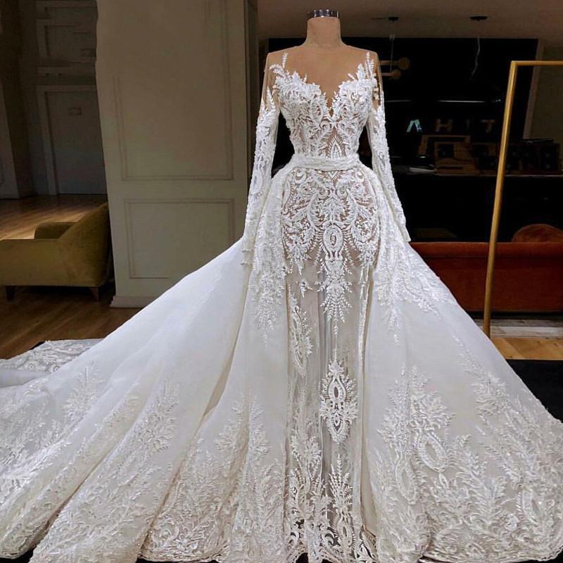 2020 Superbe manches longues sirène Robes de Mariée avec Amovible train de luxe de Dubaï arabe Corsage dentelle Appliqued robe de mariée Custom Made