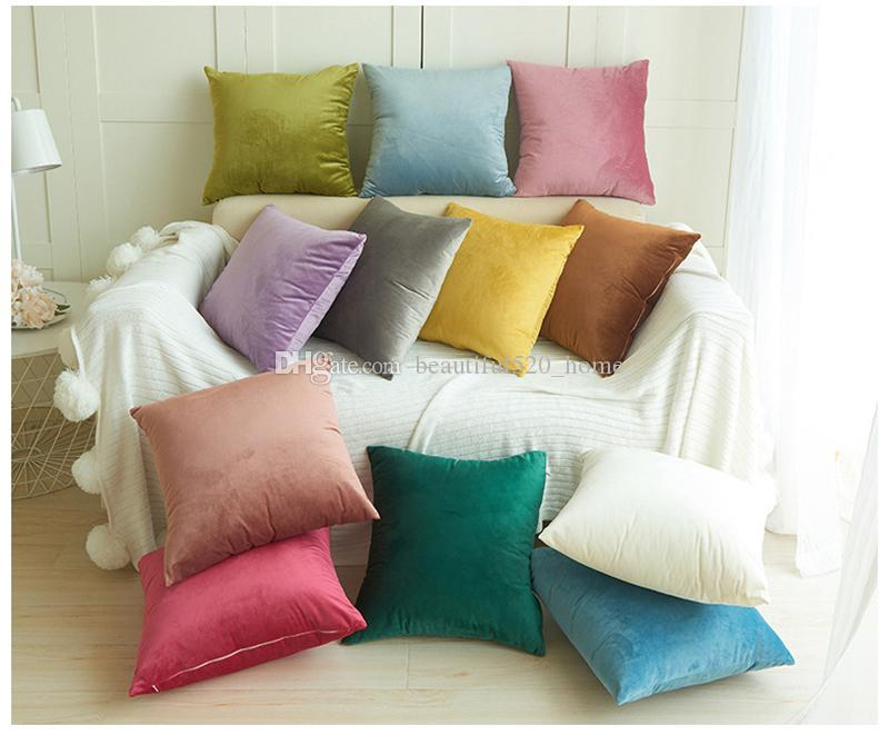 18 x 18 Velveteen Pillow Covers Square Sofa Decorative Pillow Cases Indoor and Outdoor Throw Pillow Covers BH18099