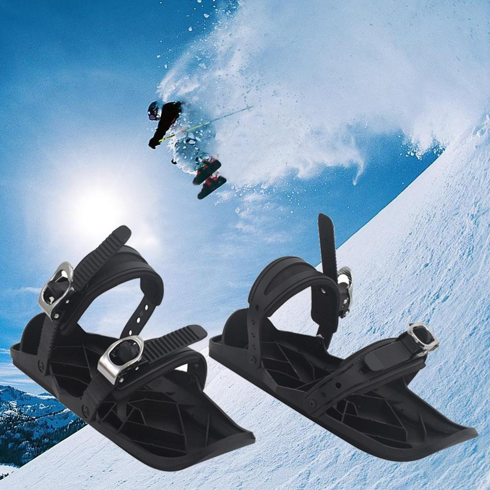 Mini Ski Skates For Snow Short Skiboard Snowblades Adjustable Ties Ski Shoes