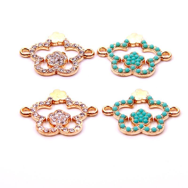 En gros 20pcs fleur de prunier pendentif connecteurs cristal fit bracelet collier vêtements vêtements bijoux bricolage artisanat diamants charme conclusions