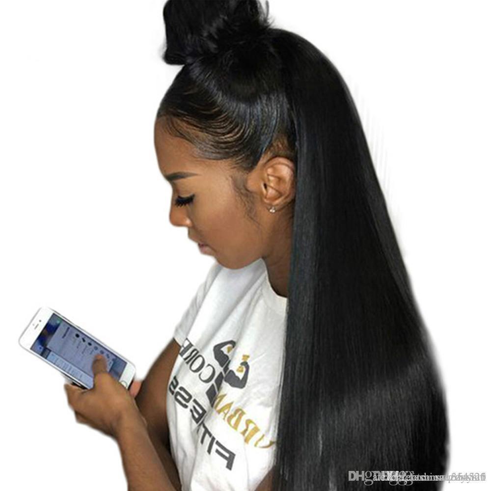 Pérou droite Bangs Perruques 360 Bob Lace Front Wigs naturel Hairline avant de dentelle haute température du fil perruques pour les femmes