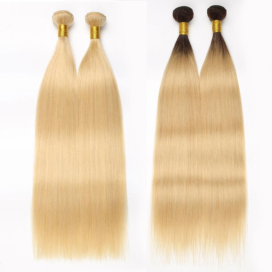 Rxy Ombre 613 Blonde di miele Bundle 1B / 613 Ombre capelli lisci capelli umani del tessuto brasiliano Bundles Ombre Capelli Bundle 3 pezzi