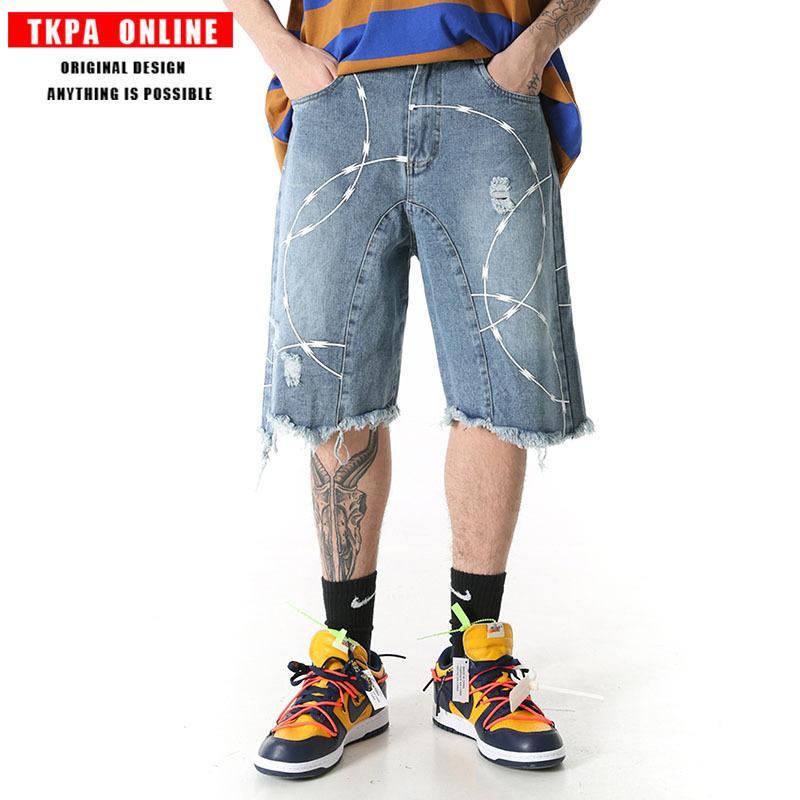 printemps TKPA2020, été, hip-hop, le nouveau logo populaire pantalon torre lâche hommes de jeans à jambes larges short en jean aux éclaboussures d'encre