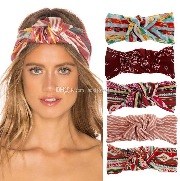 2019 New Boho Style Women Fashion Knot Headbands Beauitful Floral Printed Headwrap Sport Yogo Hair Bands
