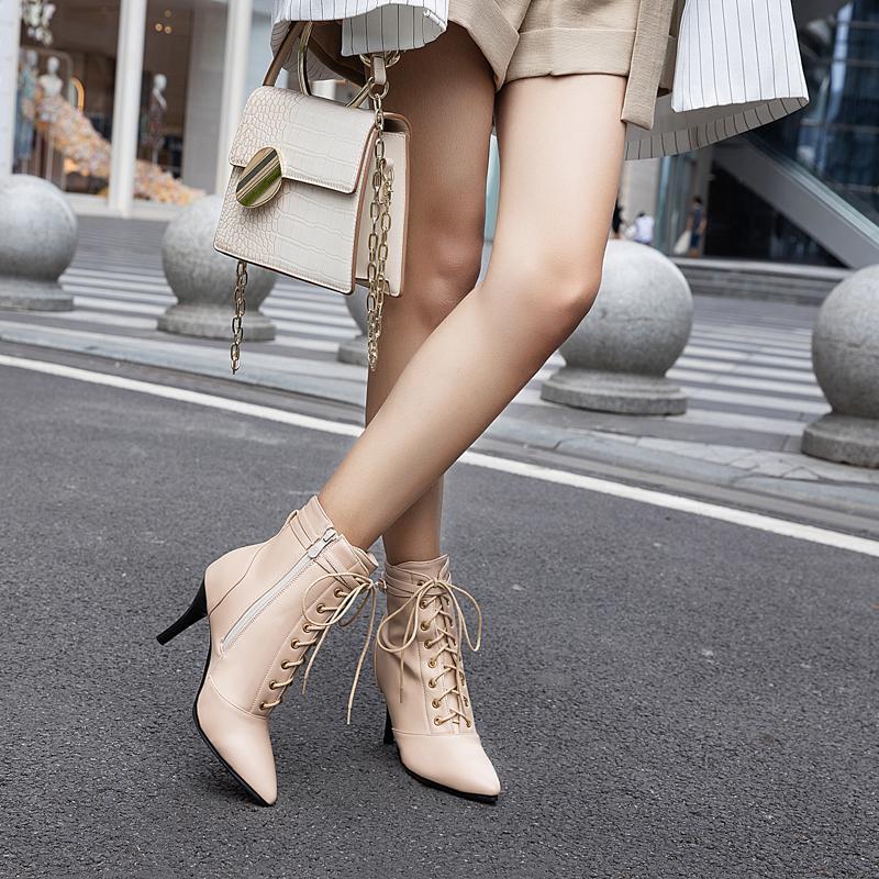 Hot Sale-Outono e Inverno Vento britânica Belas-salto Pu Botão Zipper romanos rendas sapatos da moda Grande Tamanho da Mulher Botas 09-1608ASCP