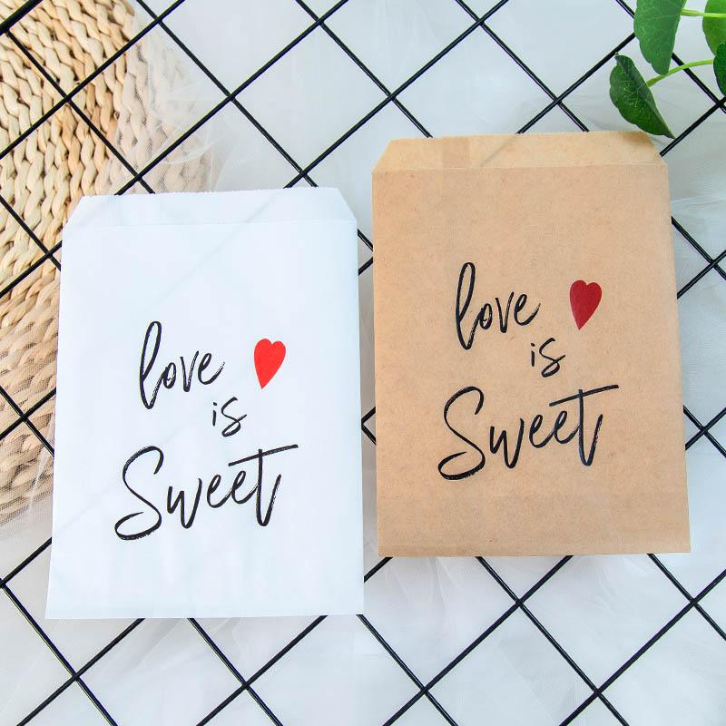 Kraft Paper Love is Sweet Treat Favor Bags for Wedding Bride Shower Party Decorations Coffee Candy Popcorn Buffet Gift Bag