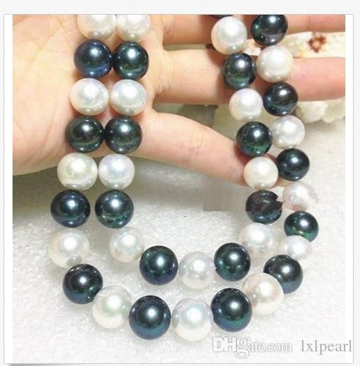 35 INCH ENORME AAA10-11MM Real South Sea White + Black Pearl Necklace 14k CHIUSURA IN ORO