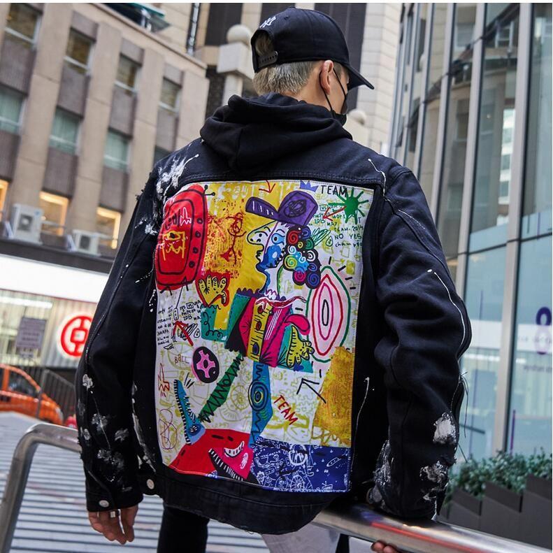힙합 낙서 만화 찢어진 데님 재킷 남성 캐주얼 고민 된 청바지 코트 Streetwear 패션 남성 탑스 14d4