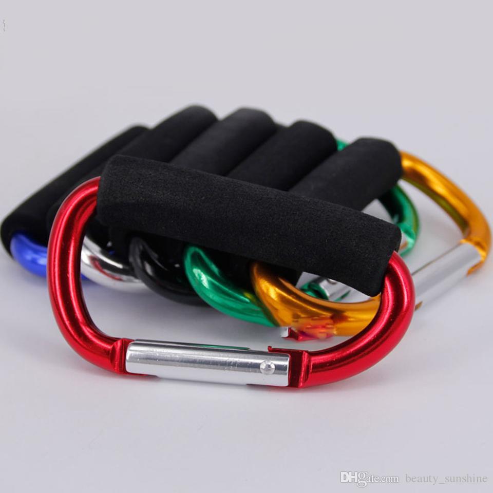 D Tipo Mosquetão com Eva macia Spong Handle liga de alumínio Hooks Carry Shopping Bag Camping Keyring Outdoor EDC Tools 96,5 * 51mm