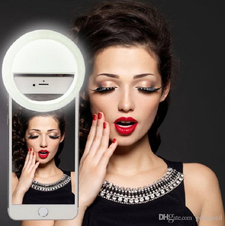 Производитель зарядки светодиодная вспышка красоты заполнить селфи лампа открытый селфи кольцо свет перезаряжаемые для всех мобильных телефонов Бесплатная доставка