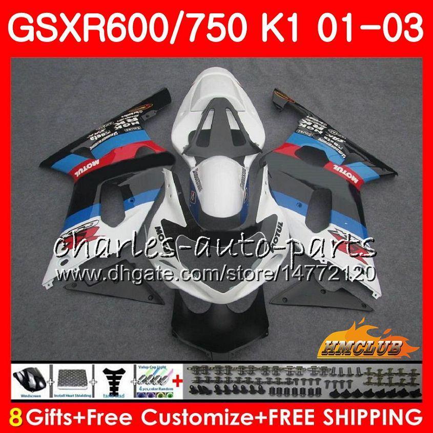 SUZUKI Için 8 Gifts Vücut GSX-R750 GSXR 600 750 GSXR600 01 02 03 4HC.37 GSXR-600 K1 fabrika beyaz GSX R750 GSXR750 2001 2002 2003 Fairing kiti
