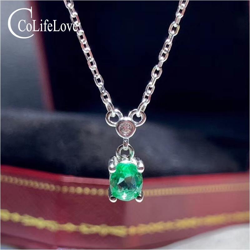 CoLife ювелирные изделия 925 Серебряный Изумруд Ожерелье для повседневной носки 4 * 5 мм натуральный Изумруд Серебряное ожерелье простой