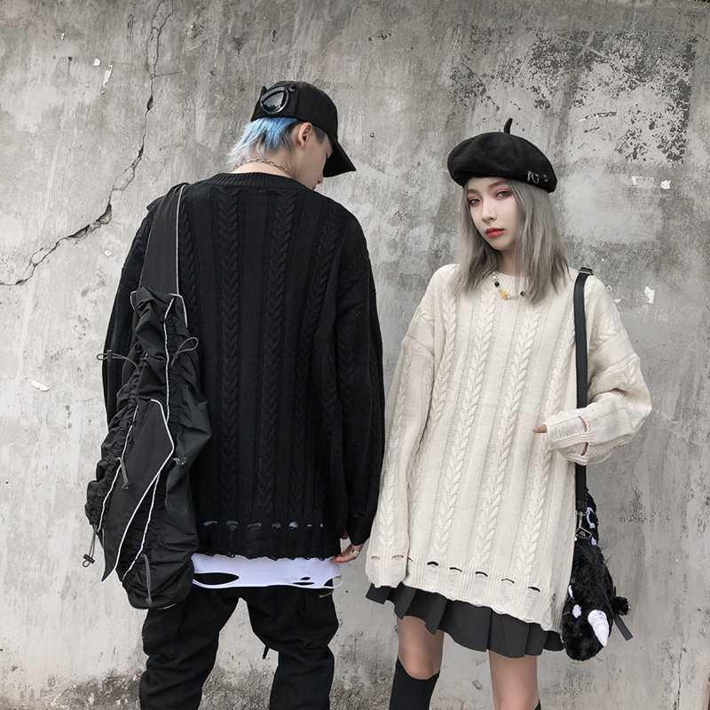 Harajuku torção Padrão Buraco homens e mulheres camisola Oversize sólidos a granel Casaco masculino Camisolas Puxe Homme Streetwear Clothers