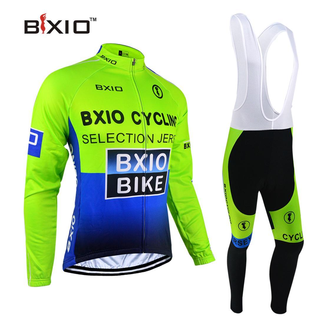 Bxio 사이클링 유니폼 겨울 열 양털 긴 소매 사이클 저지 설정 녹색 자전거 전체 지퍼 자전거 의류